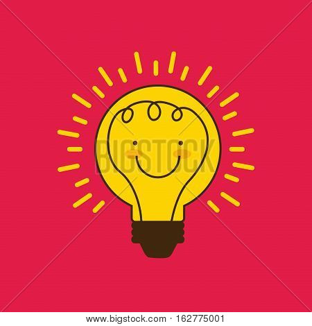 cartoon bulb light with happy face icon over red background. colorful design. vector illustration