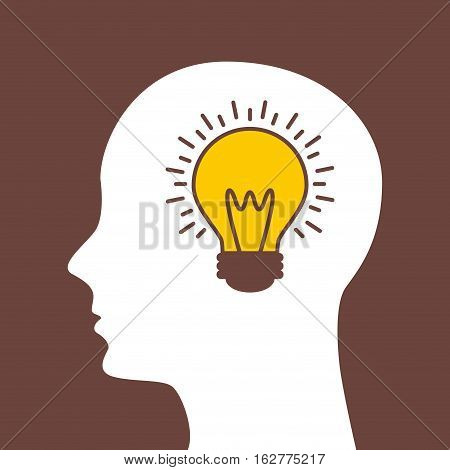 profile head with bulb light icon over brown background. colorful design. vector illustration