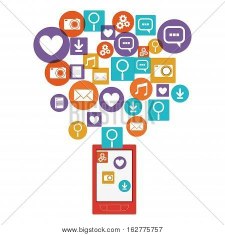 Smartphone social media and multimedia icon set. Apps communication and digital marketing theme. Isolated design. Vector illustration