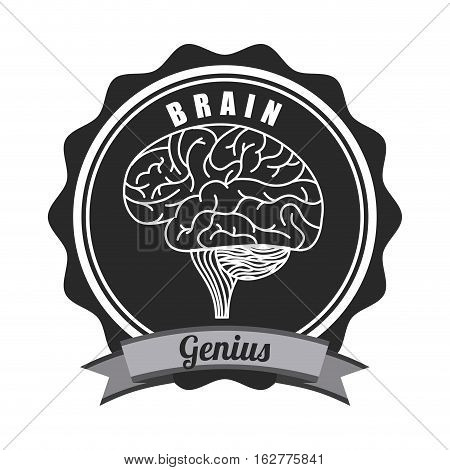 seal stamp with human brain icon over white background. vector illustration