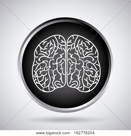 button with human brain organ icon over white background. vector illustration