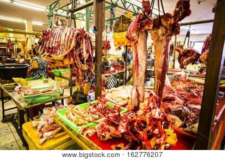 Bali Indonesia - 26 September 2016: Meat at the Badung Market in Denpasar Bali Indonesia.
