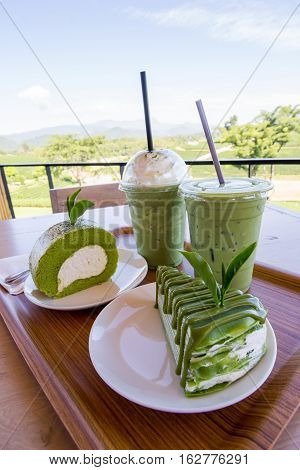 Closed up Green tea cake roll and crepe cake with matcha green tea