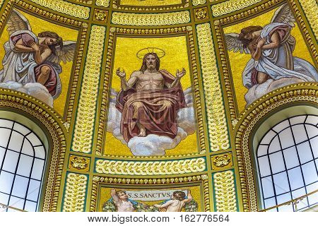 BUDAPEST, HUNGARY - JUNE 10, 2016 Dome Christ Mosaic Basilica Saint Stephens Cathedral Budapest Hungary. Saint Stephens named after King Stephens who brought Christianity to Hungary. Cathedral built in the 1800s and consecrated in 1905.