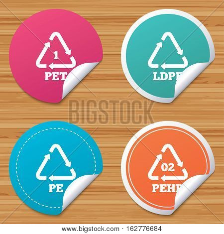 Round stickers or website banners. PET, Ld-pe and Hd-pe icons. High-density Polyethylene terephthalate sign. Recycling symbol. Circle badges with bended corner. Vector