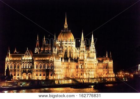 Parliament Building Danube River Reflection Budapest Hungary. Parliament Building built betwwn 1885 to 1904.