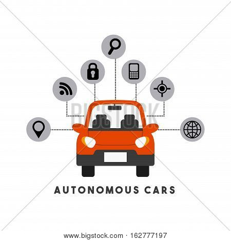 autonomous car with smart icons around over white background. colorful design. vector illustration