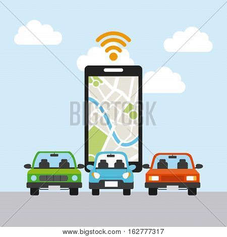 smartphone and autonomous cars icon over sky background. colorful design. vector illustration