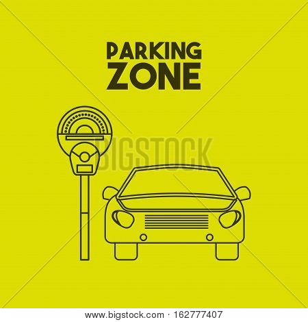 car icon on parking zone. colorful design. vector illustration