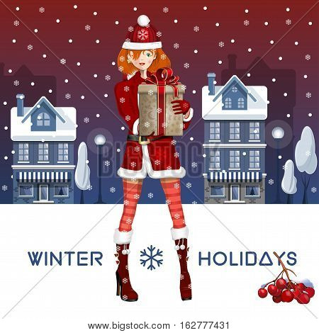 Lovely girl dressed as Snow Maiden in the winter the snow-covered city. Cute girl with Christmas gift in the hands. Greeting card for the winter holidays. Vector illustration