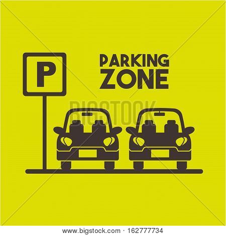 cars in parking zone over green background. colorful design. vector illustration