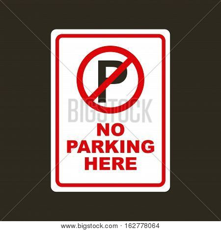 forbidden sign of parking zone icon over black background. vector illustration
