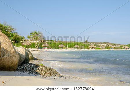 View Of Rocks From Baby Beach On Aruba Island