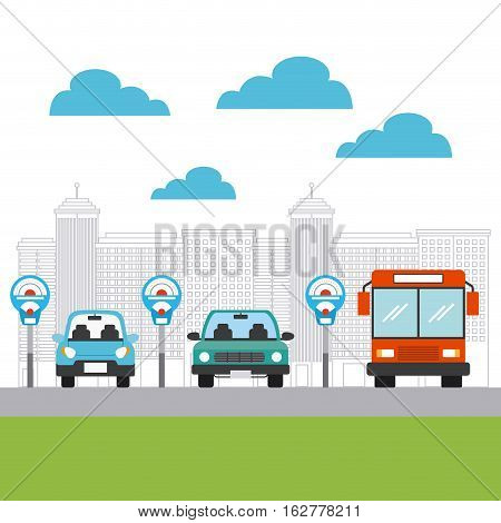 parked cars and bus vehicles in city parking zone. colorful design. vector illustration
