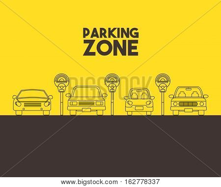 parked cars in a parking zone over yellow background. vector illustration