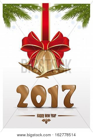 Gold figures New Year 2017, jingle bells, fir branches, red ribbon with a bow. Happy New Year. Christmas design. Vector Christmas card