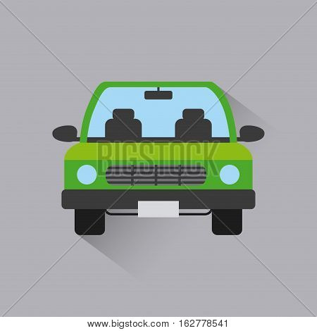 green car vehicle icon over gray background. colorful design. vector illustration