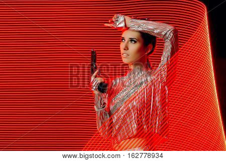 Secret Agent in Silver Outfit in Light Painting  Backdrop