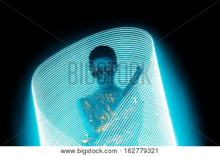 Secret Agent with Gun in Blue Light Painting Effect Backdrop