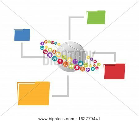 Cloud service. File sharing or management concept.