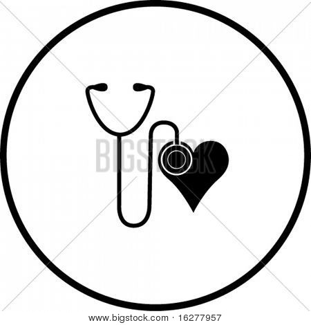 stethoscope and heart symbol