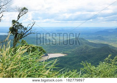 Tropical landscape with mountains and rivers in Lam Dong area Vietnam