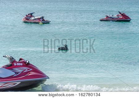 Jet Ski Boat On Sea Wating To Be Navigate