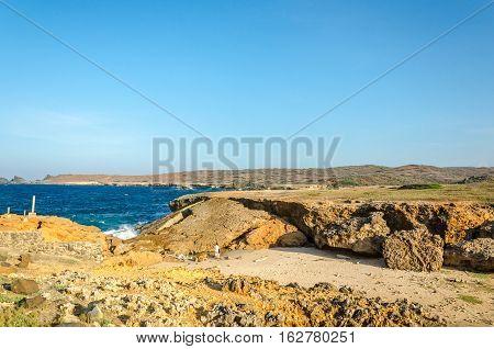 Natural Bridge Beach At The Caribbean Sea In Aruba
