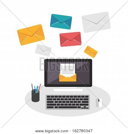 Sending and receiving email. Email marketing. Email concept.
