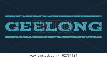 Geelong watermark stamp. Text caption between horizontal parallel lines with grunge design style. Rubber seal stamp with dust texture. Vector blue color ink imprint on a dark blue background.