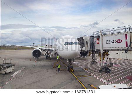 SYDNEY AUSTRALIA - SEPTEMBER 6 : boeing 777 - 300 er of emirates airline parking in Sydney (Kingsford Smith) Airport preparing departure to bangkok on september 6 2015 in sydney australia