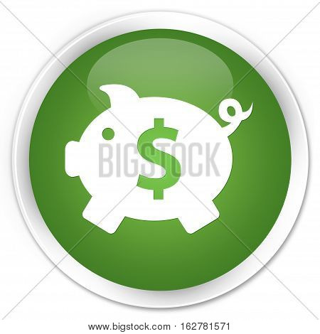 Piggy Bank (dollar Sign) Icon Premium Soft Green Round Button
