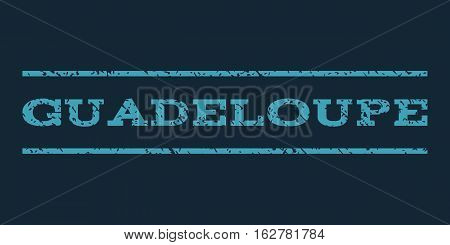 Guadeloupe watermark stamp. Text tag between horizontal parallel lines with grunge design style. Rubber seal stamp with unclean texture. Vector blue color ink imprint on a dark blue background.