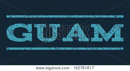 Guam watermark stamp. Text caption between horizontal parallel lines with grunge design style. Rubber seal stamp with scratched texture. Vector blue color ink imprint on a dark blue background.