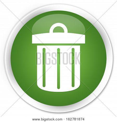 Recycle Bin Icon Premium Soft Green Round Button
