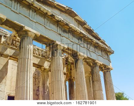 The Hephaistos Temple Near The Acropolis In Athens