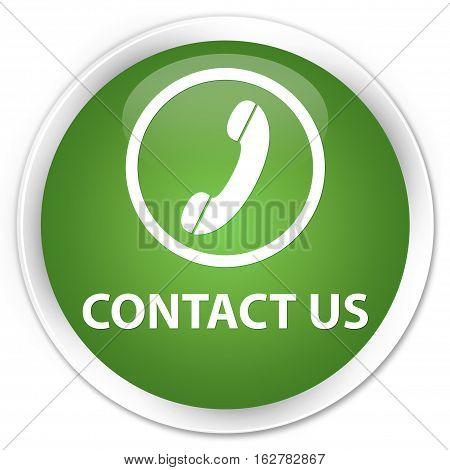 Contact Us (phone Icon Round Border) Premium Soft Green Round Button