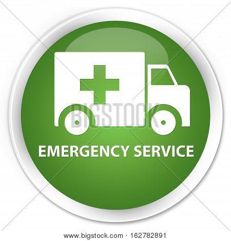 Emergency Service Premium Soft Green Round Button