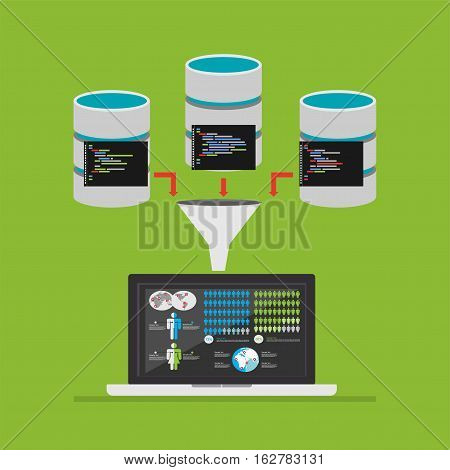 Extract information from database. Data mining concept illustration.
