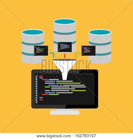 Script code for database query. Data mining process concept illustration.