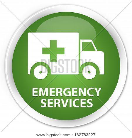 Emergency Services Premium Soft Green Round Button