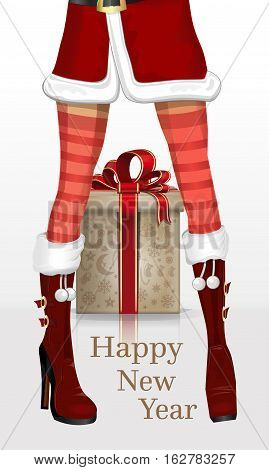 Christmas design with sexy girl's legs in winter boots in front of the gift box. Girl in suit Snow Maiden with New Year's gifts. Happy New Year. Vector Christmas greeting card