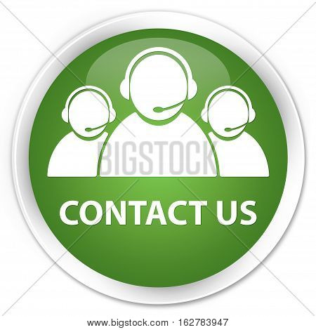Contact Us (customer Care Team Icon) Premium Soft Green Round Button