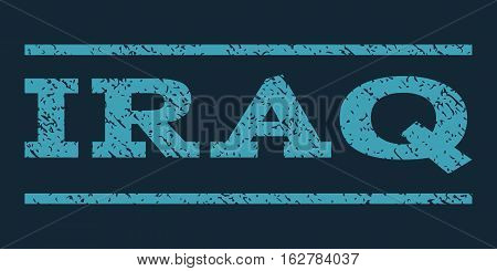 Iraq watermark stamp. Text caption between horizontal parallel lines with grunge design style. Rubber seal stamp with scratched texture. Vector blue color ink imprint on a dark blue background.