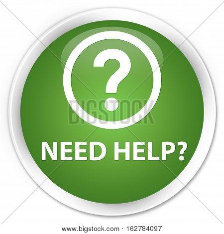 Need Help (question Icon) Premium Soft Green Round Button