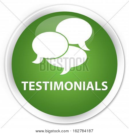 Testimonials (comments Icon) Premium Soft Green Round Button