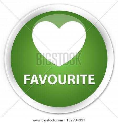 Favourite (heart Icon) Premium Soft Green Round Button