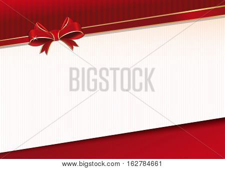 Celebratory background with red ribbon and bow for solemn event. Template for greeting card. Vector illustration