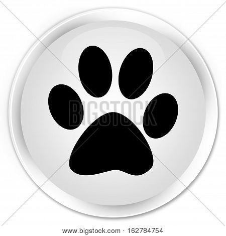 Animal Footprint Icon Premium White Round Button