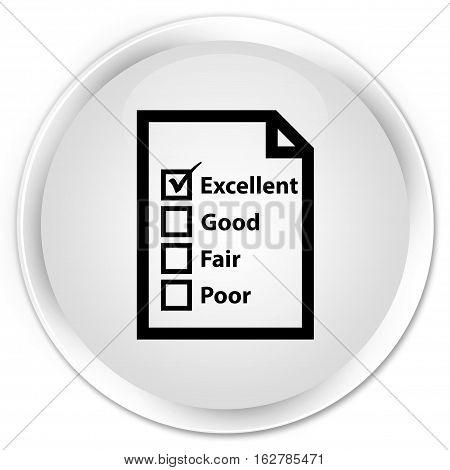 Questionnaire Icon Premium White Round Button